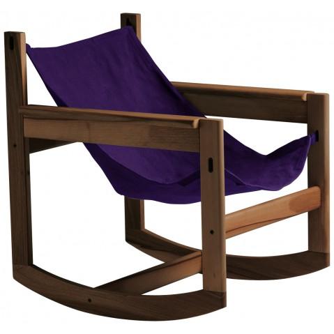Roking-chair PELICANO de Objekto, Violet, Structure en noyer