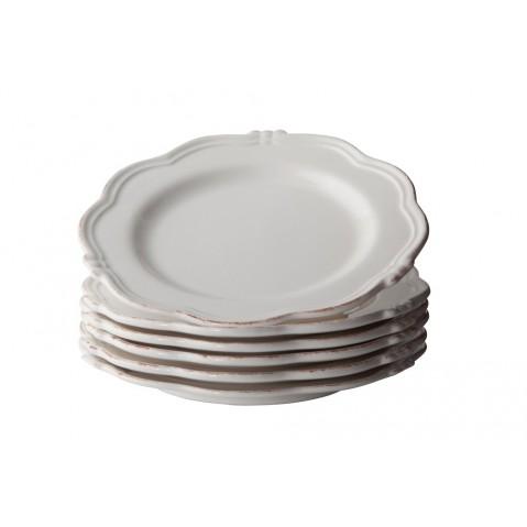 Set De 6 Manosque Assiettes de Flamant, Blanc