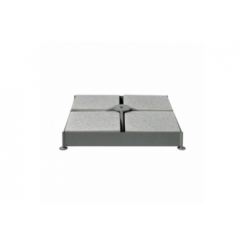 Socle à roulettes M4, 150kg avec kit de dalles et tube de fixation en acier zingué Ø48/55 de Glatz