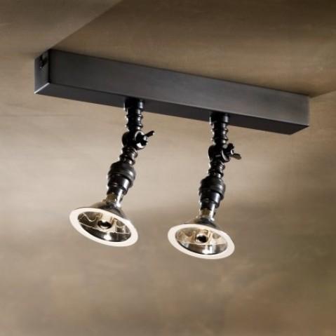 Spot orientable Nautic LILLEY RAIL 300mm avec 2 spots bronze antique