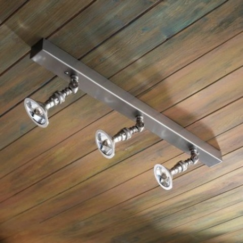 Spot orientable Nautic LILLEY RAIL 600mm avec 3 spots bronze nickelé mat