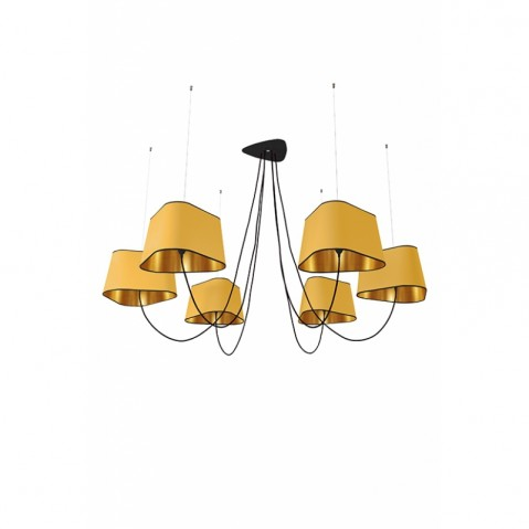Suspension 6 GRAND NUAGE de Designheure,  Jaune / Or fil Noir,