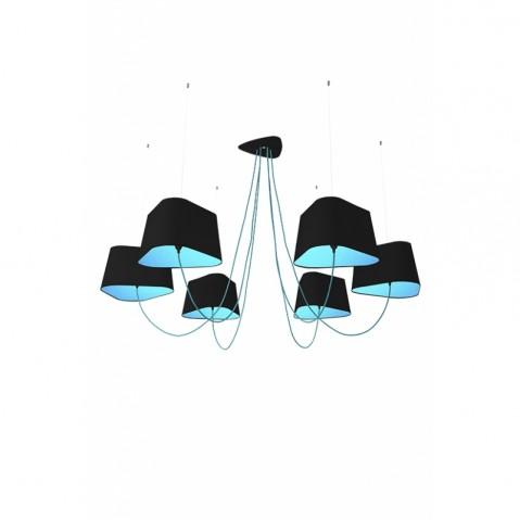 Suspension 6 GRAND NUAGE de Designheure, Noir / Bleu Fil Bleu