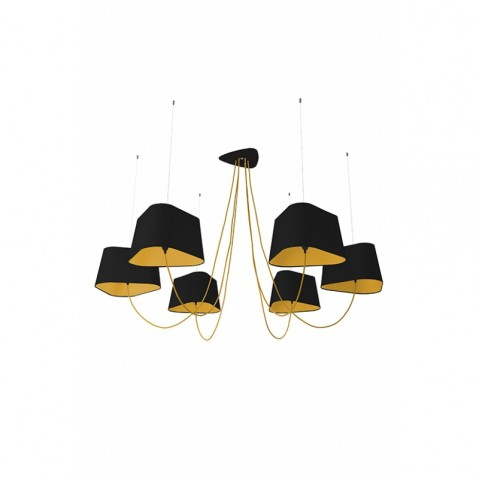 Suspension 6 GRAND NUAGE de Designheure, Noir / Jaune Fil jaune