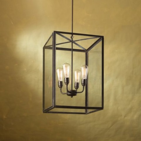 Suspension Nautic ILFORD LARGE bronze antique verre clair