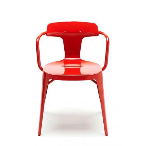 Chaise T14 de Tolix acier Inox laqué brillant, 8 coloris