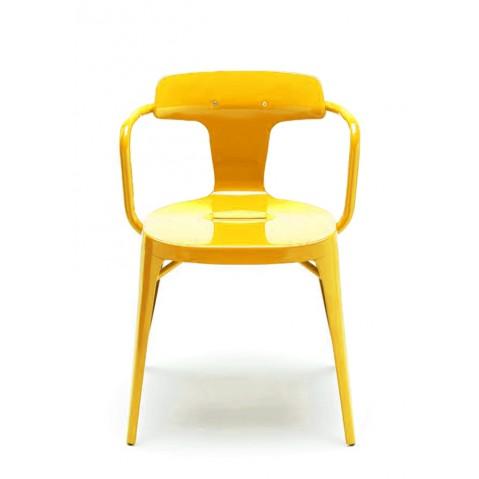 Chaise T14 de Tolix acier Inox laqué brillant, Citron