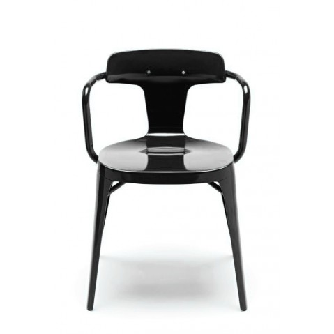 Chaise T14 de Tolix acier Inox laqué brillant, Noir