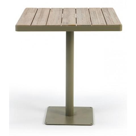 Table carrée LAREN de Ethimo, 70 cm, teck décapé et mud grey