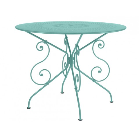Table 1900 de Fermob D. 96 Bleu lagune