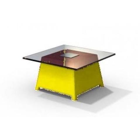 Table basse - RAFFY M10 - avec plateau 66x66 cm Qui est Paul Jaune