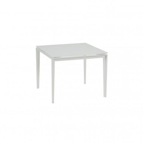 Table basse LITLLE-L de Royal Botania blanc et plateau verre blanc