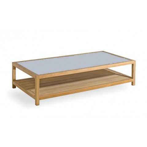 Table basse SORENTO de Manutti en petit granit bleu clair