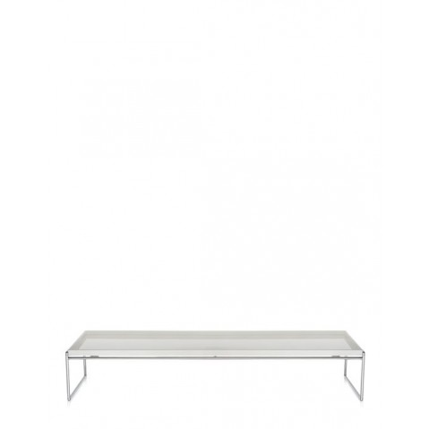 Table basse TRAYS de Kartell, Blanc, L.140 X H.25.3 X P.40
