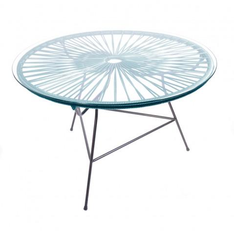 table basse zipolite de boqa avec structure noire bleu canard. Black Bedroom Furniture Sets. Home Design Ideas
