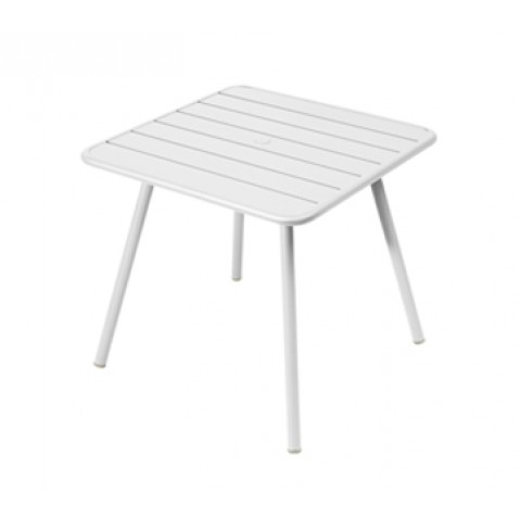 Table carrée 4 pieds LUXEMBOURG de Fermob, Blanc coton