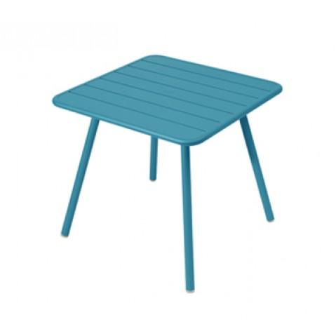 Table carrée 4 pieds LUXEMBOURG de Fermob, Bleu turquoise