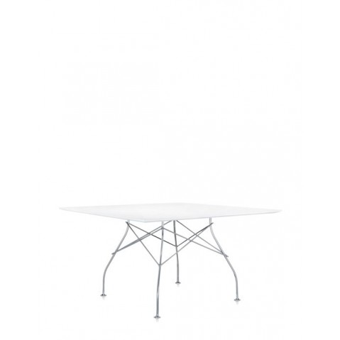 Table carrée GLOSSY de Kartell, Blanc-brillant