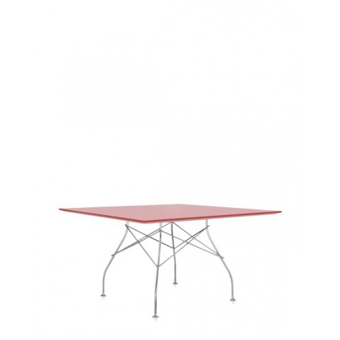 Table carrée GLOSSY de Kartell, Rouge