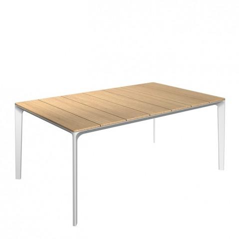 Table CARVER de Gloster teck et structure blanche, L. 170