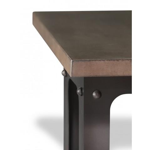 Table en béton chocolat L.200 pied Loft