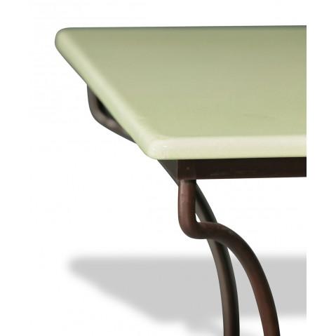 Table en pierre de lave émaillée Céladon L.180 Pied Directoire
