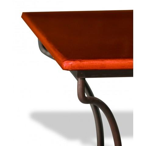 Table en pierre de lave émaillée Corail L.200 Pied directoire