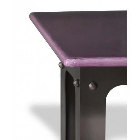 Table en pierre de lave émaillée L.180 Pied Loft figue