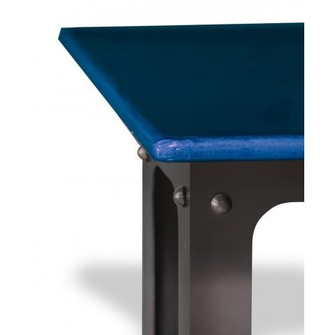 Table en pierre de lave émaillée L.200 Pied Loft bleu de Castre