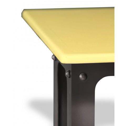 Table en pierre de lave émaillée L.200 Pied Loft miel