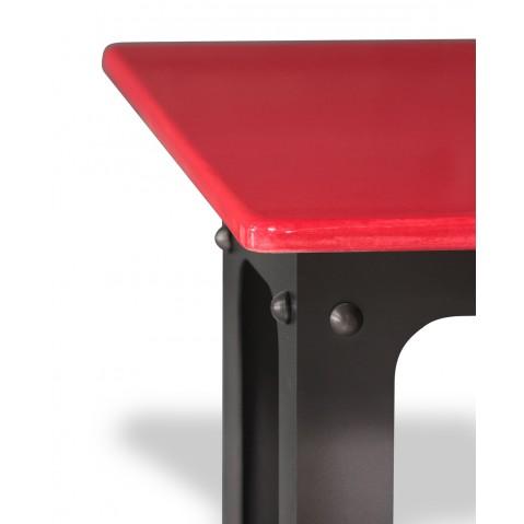 Table en pierre de lave émaillée L.200 Pied Loft rouge
