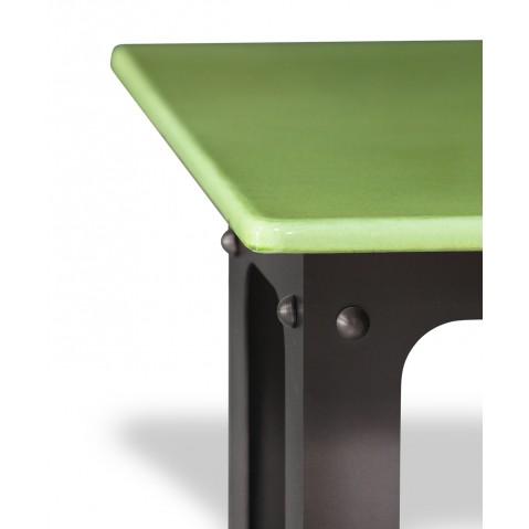 Table en pierre de lave émaillée L.200 Pied Loft vert pomme