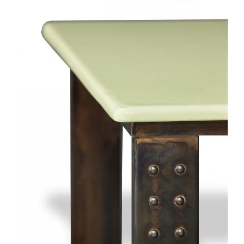 Table en pierre de lave émaillée pied atelier L.180 céladon