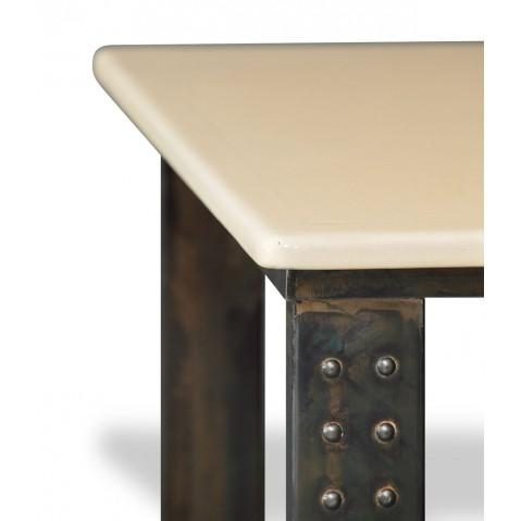 Table en pierre de lave émaillée pied atelier L.180 pierre