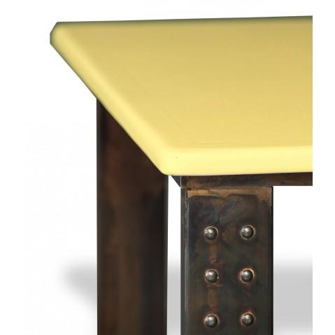 Table en pierre de lave émaillée pied atelier L.200 miel