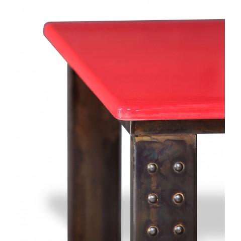 Table en pierre de lave émaillée pied atelier L.200 rouge