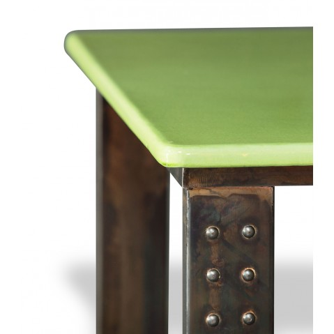 Table en pierre de lave émaillée pied atelier L.200 vert pomme