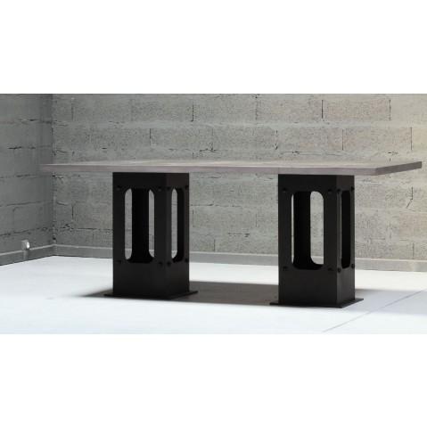 Table en pierre de lave maill e pied loft figue - Table en pierre de lave ...