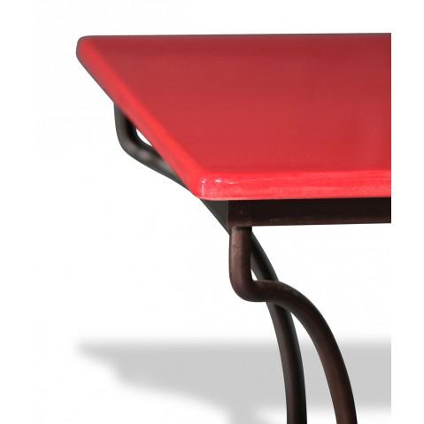 Table en pierre de lave émaillée Rouge L.180 Pied Directoire