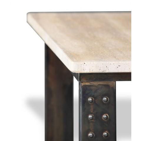 Table en pierre de Travertin Noce clair L.200 pied Atelier