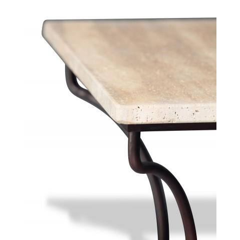 Table en pierre de Travertin Noce clair L.200 pied Directoire