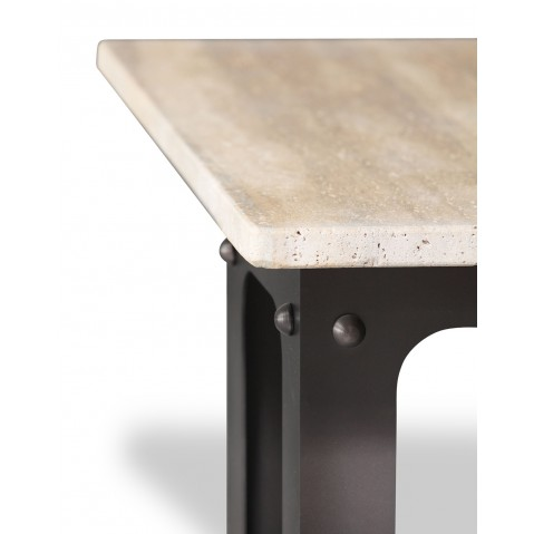 Table en pierre de Travertin Noce clair L.200 pied Loft