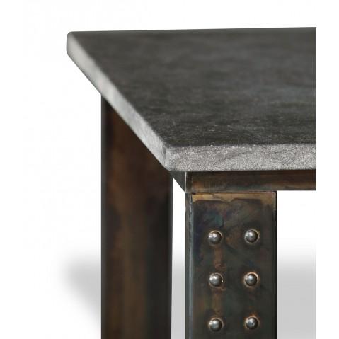 Table en pierre Petit Granit Belge L.200 pied Atelier
