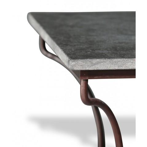 Table en pierre Petit Granit Belge L.200 pied Directoire