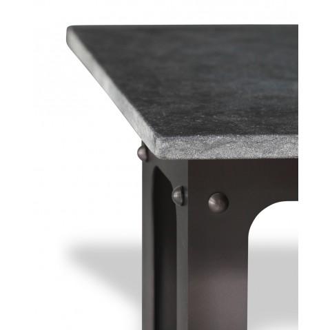 Table en pierre Petit Granit Belge L.200 pied Loft