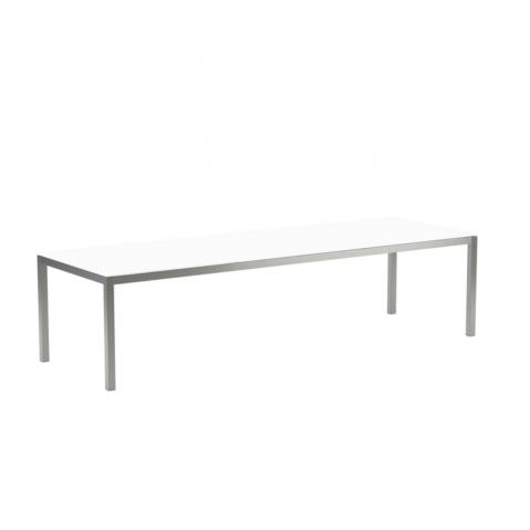 Table en verre TABOELA 300x100 de Royal Botania, blanc