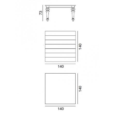 Table GRAY de Gervasoni plateau ardoise et pieds chêne blanc 140 cm 32 LG