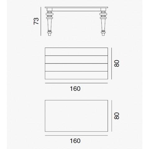 Table GRAY de Gervasoni plateau ardoise et pieds noyer 160 cm 35 LG