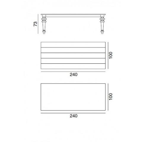 Table GRAY de Gervasoni plateau noyer et pieds chêne gris 240 cm 33 LG