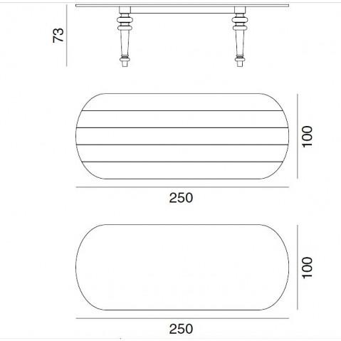 Table GRAY de Gervasoni plateau noyer ovale et pieds Chêne gris 250 cm 37 LG